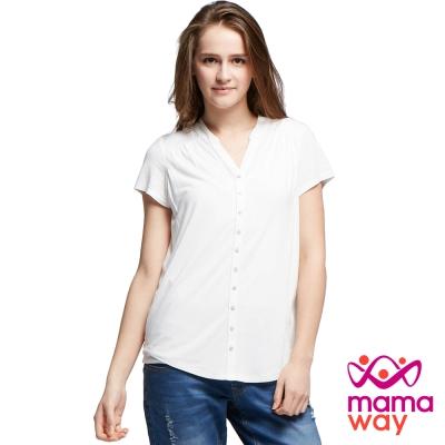 孕婦裝 哺乳衣 絲柔小立領蕾絲剪接上衣(共三色) Mamaway