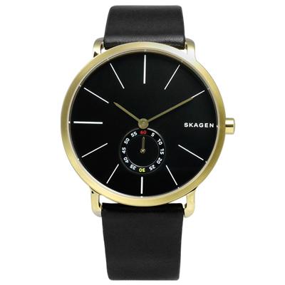 SKAGEN Hagen 簡約俐落曲線輕薄真皮腕錶-黑x金框/40mm