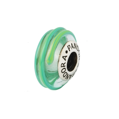Pandora 潘朵拉 線條裝飾琉璃墜-綠色