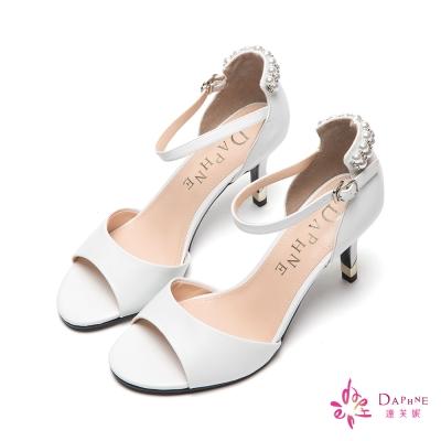 達芙妮DAPHNE 都會品味繫踝珠飾魚口高跟涼鞋-人氣纖白