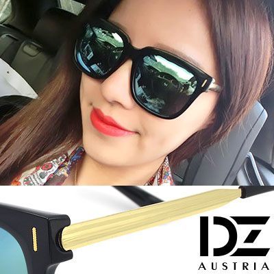 DZ 潮感條飾 抗UV 偏光太陽眼鏡墨鏡(黑框藍金膜)