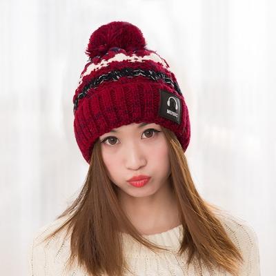 幸福揚邑 MUSIC潮流雙層保暖護耳小顏拚色毛球針織毛線帽-酒紅