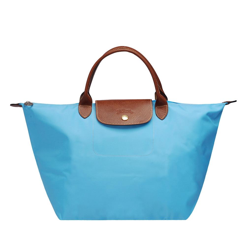 LONGCHAMP 新色上市短把尼龍水餃包(中-水藍色)LONGCHAMP