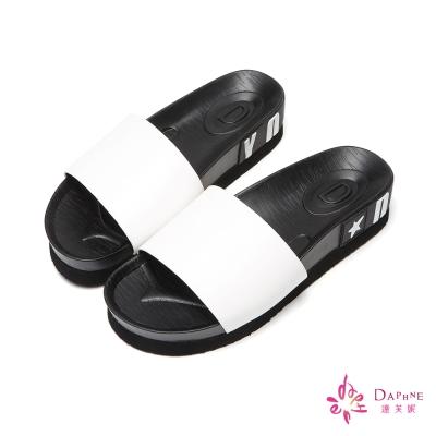 達芙妮DAPHNE-淘氣青春撞色字母印花厚底涼拖鞋-時尚白