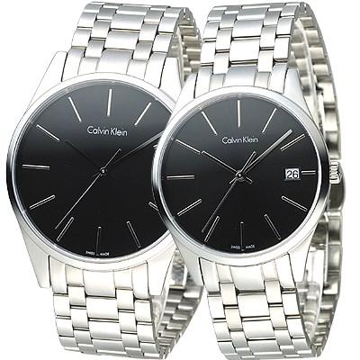 cK TIME 極簡風藍寶石水晶鏡面對錶-黑/40+35mm