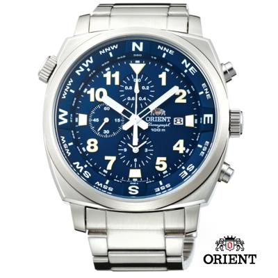 ORIENT 東方錶 東方霸王專業方位判定石英錶-藍色/45.5mm