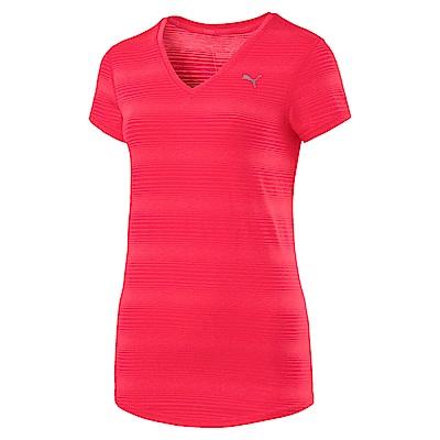 PUMA-女性訓練系列素色短袖T恤-蜜桃紅-歐規