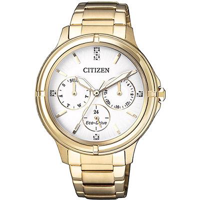 CITIZEN 星辰 光動能新時代日曆女錶(FD2032-55A)-白x金/38mm