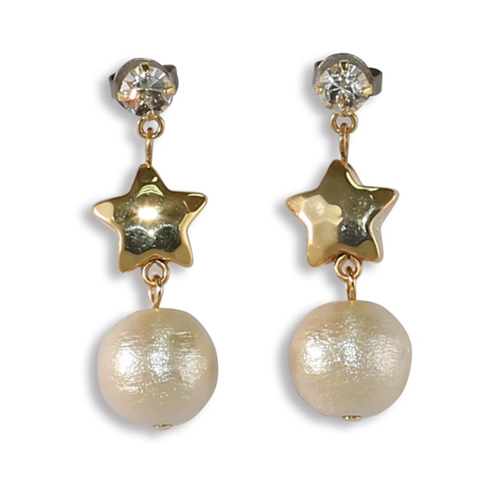 CARUTINA Star 系列甜美水晶星星棉珍珠耳環(針式/夾式)