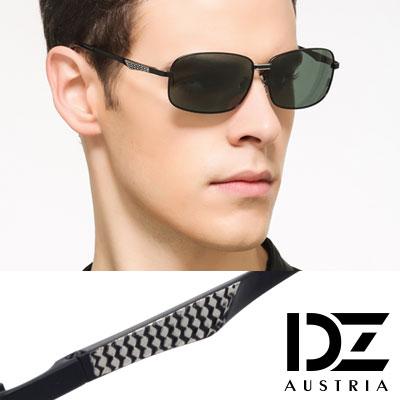DZ 風尚型男 抗UV 偏光太陽眼鏡墨鏡(黑框墨綠片)