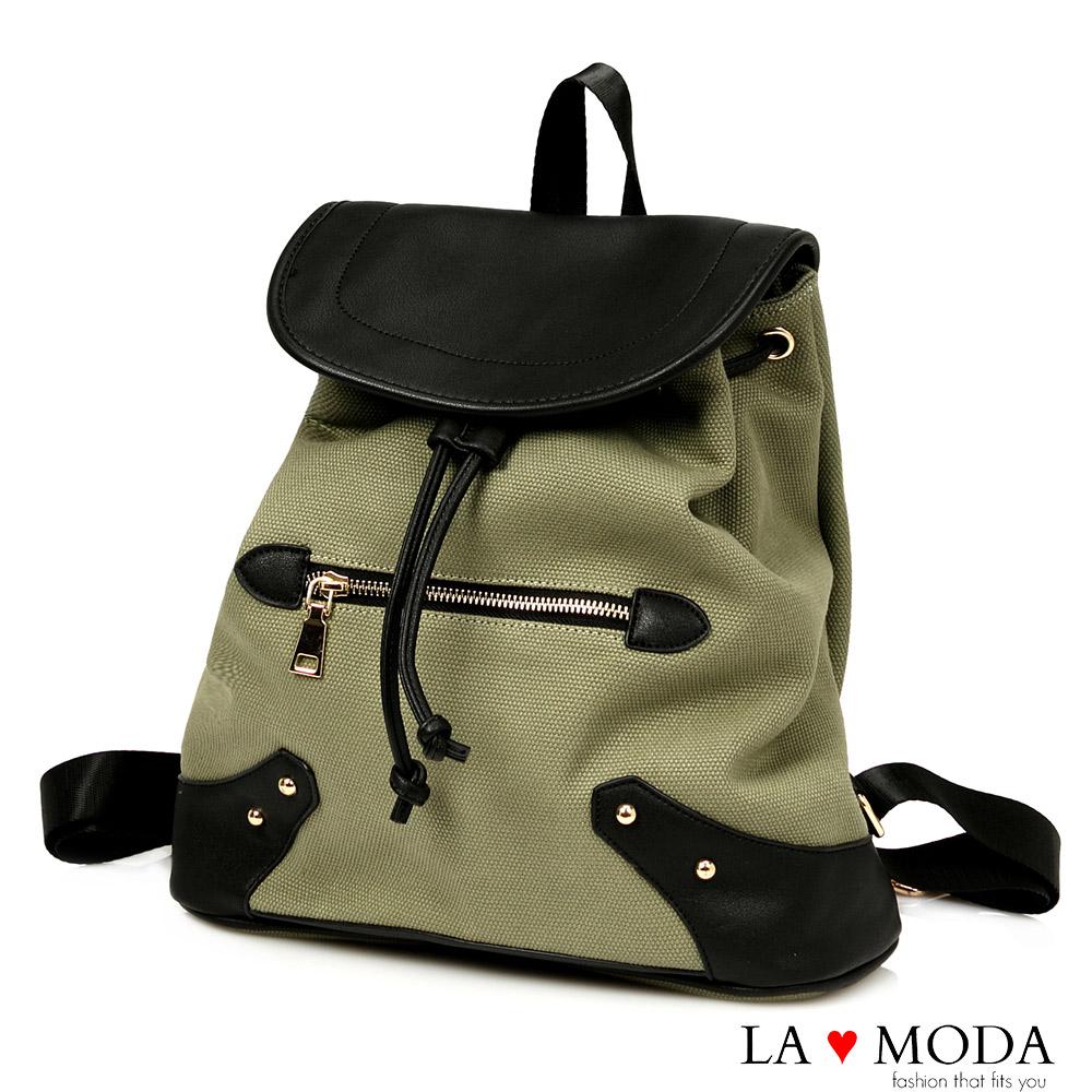 La Moda 百搭經典復古拼接帆布大容量後背包(綠)