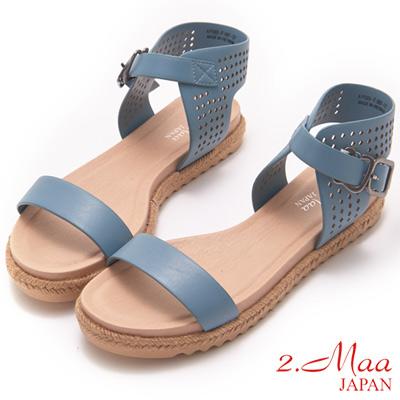 2.Maa-完美酷夏麻編一字鏤空涼鞋-藍