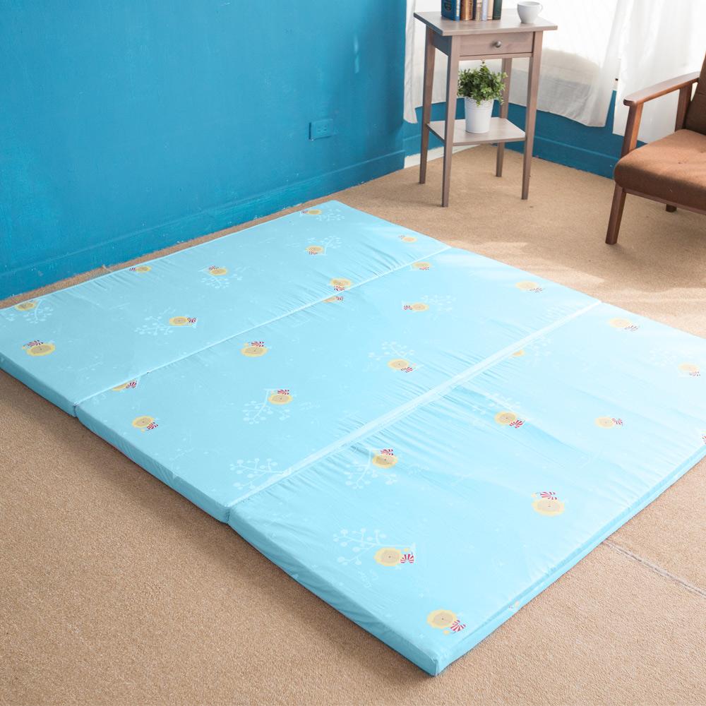 奶油獅 MIT高支撐-臻愛三折記憶聚合收納床墊-單人3尺(水藍)