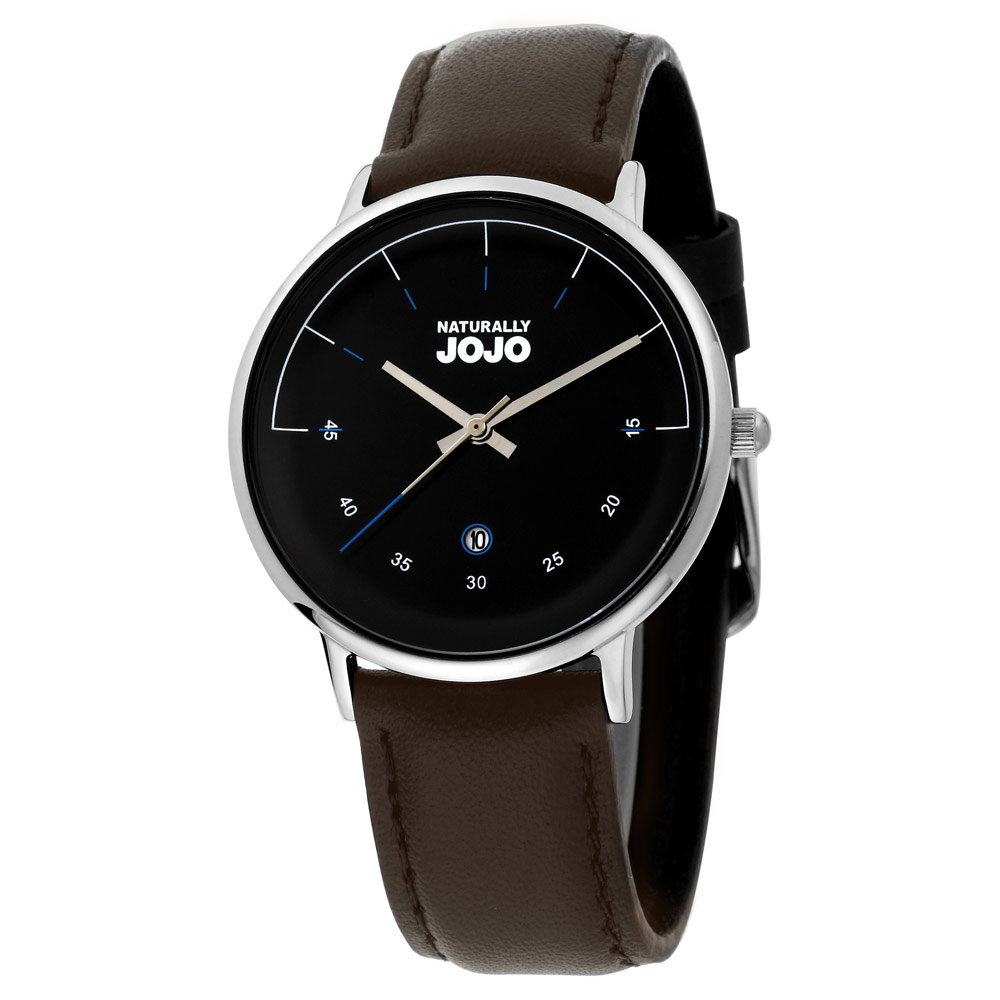 NATURALLY JOJO 簡約風尚時尚腕錶-黑x銀/36mm