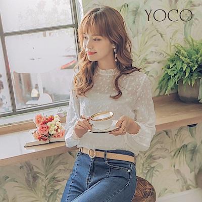 東京著衣-yoco 法式女孩花朵刺繡蕾絲上衣-S.M.L(共一色)