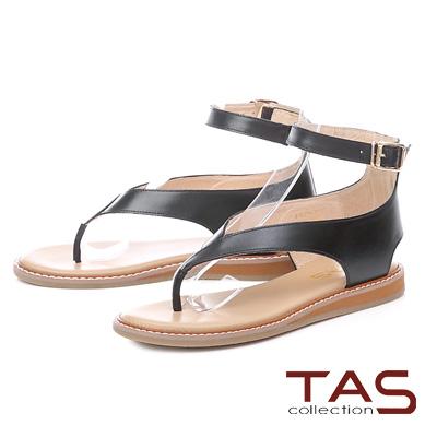 TAS素面V字踝繫帶夾腳涼鞋-個性黑