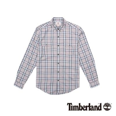 Timberland 男款藕色格紋休閒雙口袋長袖襯衫