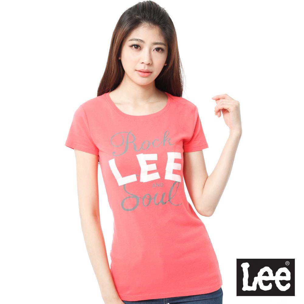 Lee 短袖T恤 白LOGO印刷 -女款(橘)