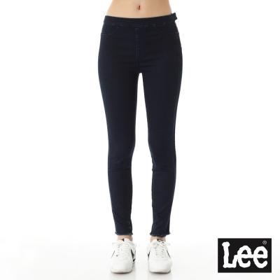 Lee 牛仔褲 417 高腰緊身褲腳抽鬚窄管-女款-深藍