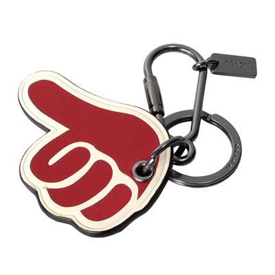 COACH大拇指點讚造型全皮雙扣環鑰匙圈