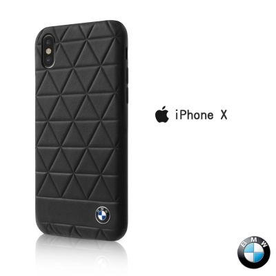 BMW iPhone X 真皮菱格紋背蓋