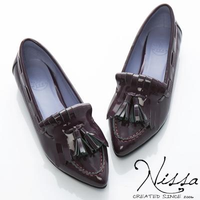 NISSA-真羊皮-羊漆啾啾流蘇平底鞋-紫