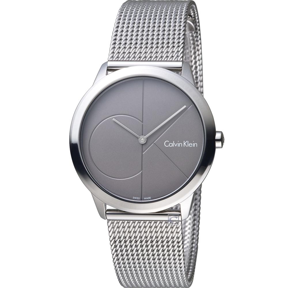 Calvin Klein minimal 大 ck 簡約時尚米蘭錶帶腕錶-35mm/深灰色