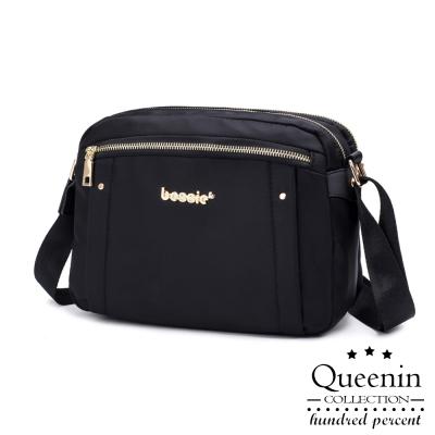 (活動)DF Queenin日韓 - 輕盈氣質尼龍款斜背式美包-黑色