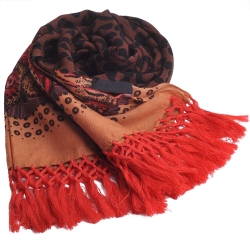 ANNA SUI 圖騰羊毛披肩圍巾