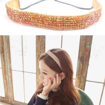 梨花HaNA-韓國香檳金色繽燦水晶髮帶