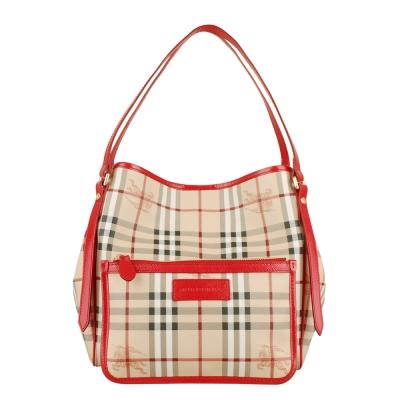 BURBERRY 經典騎士格紋漆皮滾邊肩背桶包(玫紅/中)