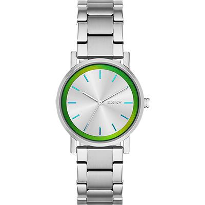 DKNY 靚麗時尚甜美三針腕錶-銀/34mm