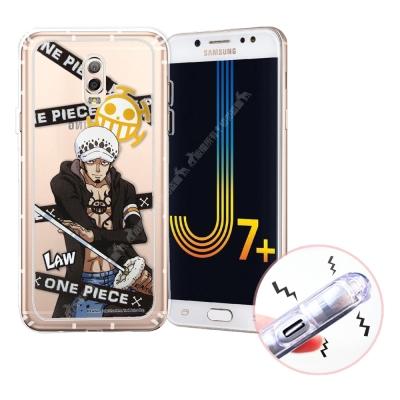 航海王 Samsung J7+/J7 Plus 透明軟式空壓殼(封鎖羅)