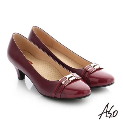 A.S.O 舒適通勤 全真皮雙條帶釦飾奈米高跟鞋 酒紅色