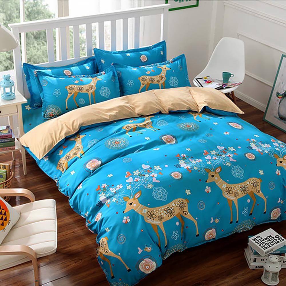 精靈工廠 療癒系天鵝絲絨雙人床包三件套 夢幻小鹿