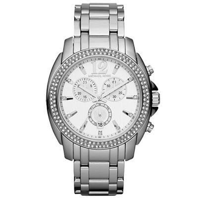 Michael Kors 浮華世界晶鑽計時腕錶-銀/42mm