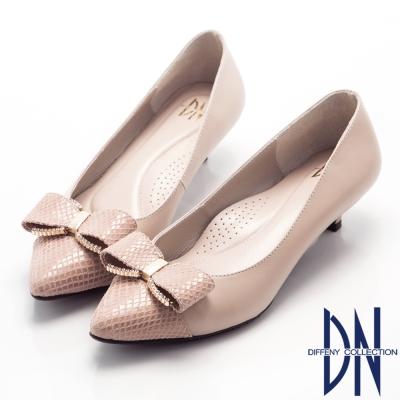 DN-甜美佳人-浪漫鑽飾蝴蝶結尖頭低跟鞋-藕
