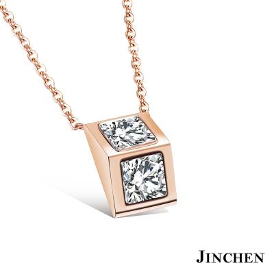 JINCHEN 白鋼方鑽項鍊