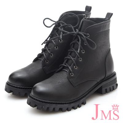 JMS-英倫牛津洗舊綁帶厚底短靴-黑色