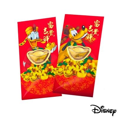 Disney迪士尼系列金飾-黃金元寶紅包袋-福氣高飛+招財唐老鴨款