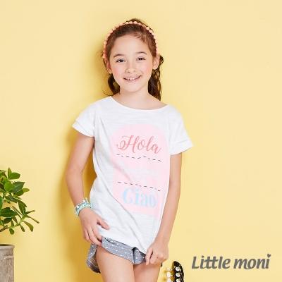 Little moni 清新女孩落肩短袖上衣 白色