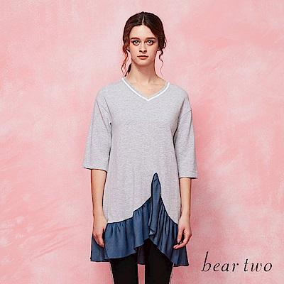 beartwo 運動風V領拼接荷葉造型長版上衣(二色)