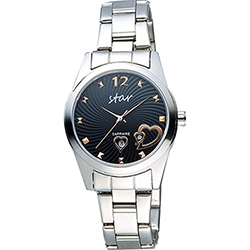 STAR 甜蜜雙心時尚石英女錶-黑x銀/34mm