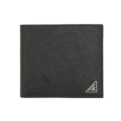 PRADA  SAFFIANO 防刮皮革三角金屬對折男夾(黑色)