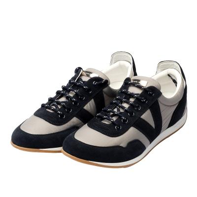 LV GO1113 銀色LOGO小牌復古膠底慢跑鞋(藍灰色-7.5號)