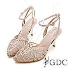 GDC-交叉水鑽特殊網布簍空細跟尖頭涼鞋-金色