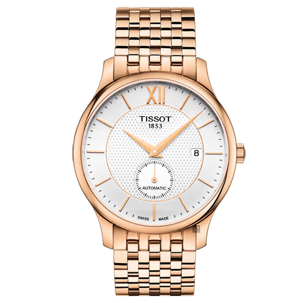TISSOT天梭 Tradition 小秒針機械錶-銀x玫塊金/40mm
