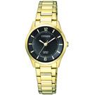 CITIZEN星辰 璀燦金高雅石英女仕手錶(ER0203-85E)-黑/26mm