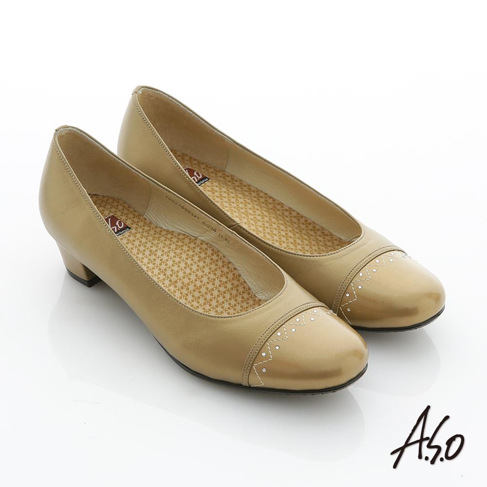 A.S.O 舒活系列 全真皮拼貼鑽窩心奈米低跟鞋 金
