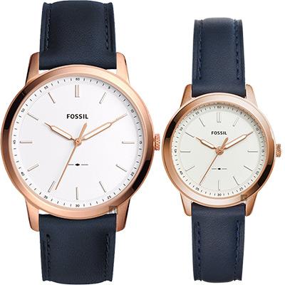 FOSSIL Minimalist 簡約對錶(FS5371+ES4299)-銀x藍色錶帶
